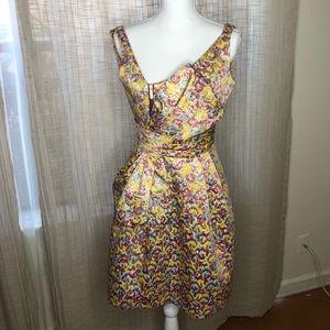 Zac Posen Gold multicolor Vintage style dress